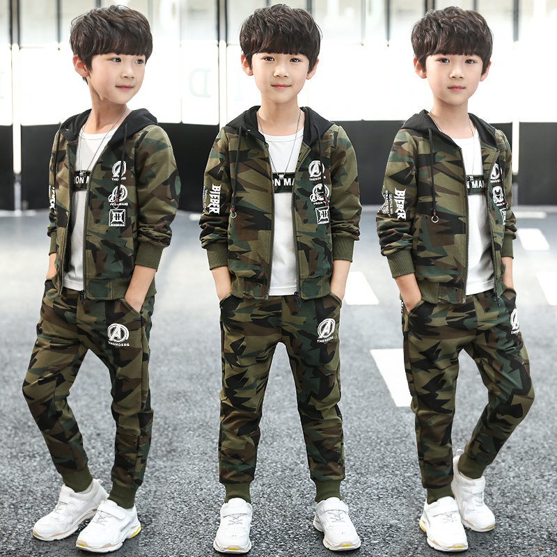 Special Offer Boys Camouflage Clothing 3 Pcs Set Hooded Coat + T shirt + Pants Children Sports Suit Teenage Kids Tracksuit B119