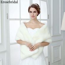 Erosebridal Elegant Women Wedding Cope in Winter Bridal Wraps 2019 New Fur Shawl 150CM*30CM 48 Hours Shipping In Stock