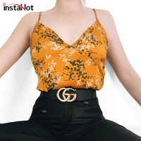 IntaHot 2019 Summer Loose Camis Basic Tops Women Yellow Flower Printed Shirts Office Lady Elegant Holiday Outfit Beachwear Sexy