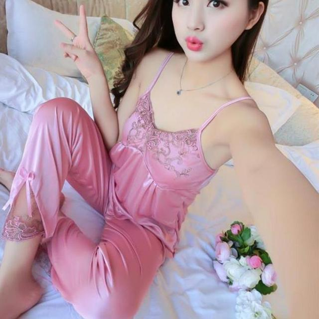 3pcs/set Women Silk Satin Sleepwear Sexy Sling Tops+Coat+Pants Outfits 5