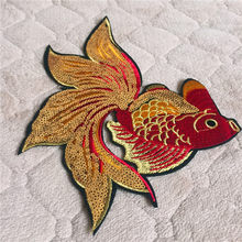 Cartoon Animal Fish Patch 1pc Big Size Computer Embroidery Badges Hand Sewing Ironing-On Sequined Patch Luckey Gold Fish DIY(China)