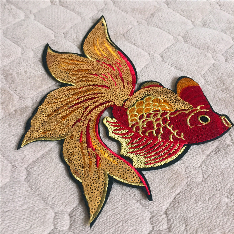 Cartoon Animal Fish Patch 1pc Big Size Computer Embroidery Badges Hand Sewing Ironing-On Sequined Patch Luckey Gold Fish DIY