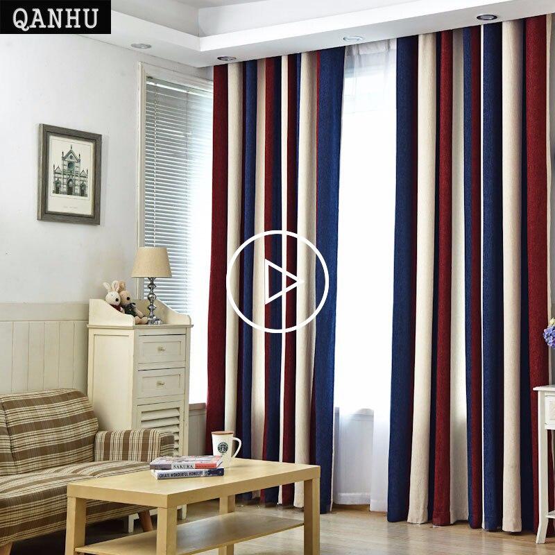 US $10.1 49% OFF|QANHU Europäischen stil Farbe Vorhänge für Wohnzimmer  Blackout Bars Jacquard Schlafzimmer Tüll Vorhänge Sets in den Kindergarten  ...