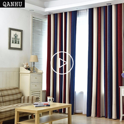 QANHU European style Color Curtains for Living Room Blackout Bars Jacquard Bedroom Tulle Curtains Sets in the Nursery Drapery