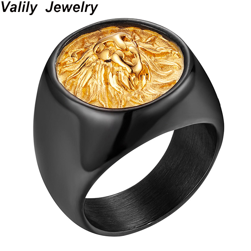 Valily Men Ring Punk Gold Black Lion 316L Stainless Steel Biker Round Animal Rings Jewelry for US Size 7-14 Drop Ship