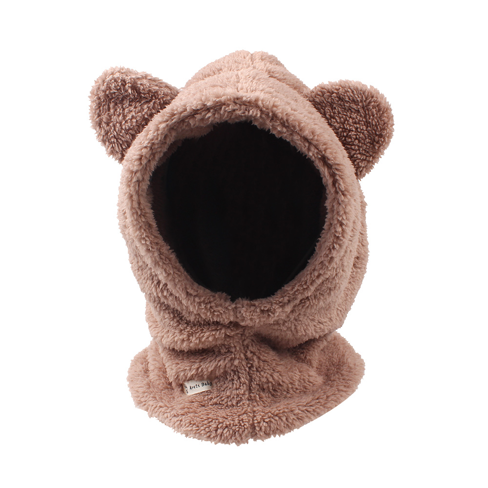 7c17cdd3511b8b Fleece Warm Baby Hat Winter Knitted Baby Girls Hat Cute Bear Ears Hoodly Hat  Thick Boys Ski Scarf Hat Baby Girls Clothing 0-4Y