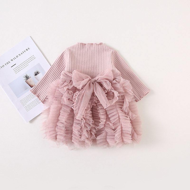 2019 Cotton Long Sleeve Knitted Kids Dresses For Girls Toddler Clothing Baby Girl Drees Tulle Patchwork Grey Pink White Spring 9