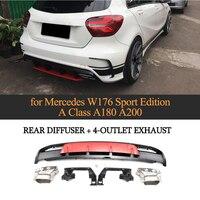 Для Mercedes Benz W176 хэтчбек 4 двери 13 18 A45 AMG A180 A200 сзади диффузор спойлер с выхлопной