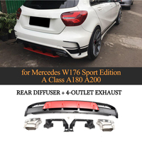 A Class Carbon Fiber Car Rear Diffuser Lip Spoiler With Exhaust For Mercedes Benz W176 Hatchback 4 Door 13 18 A45 AMG A180 A200
