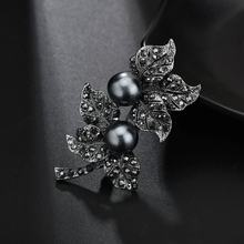 Terreau Kathy Jewelry Black Gun Plated Simulated Pearl Brooch Pins Vintage Rhinestones double Leaf Brooches for Women Gift(China)