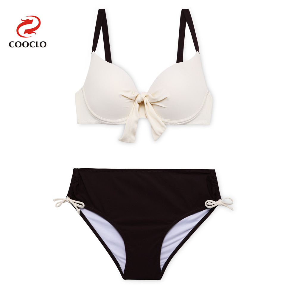 COOCLO Super Large Cup Push up Swimwear Women Bikinis set Swim Beach Wear Sexy Solid Plus Size Bathing Suit Two Pieces Swimsuit