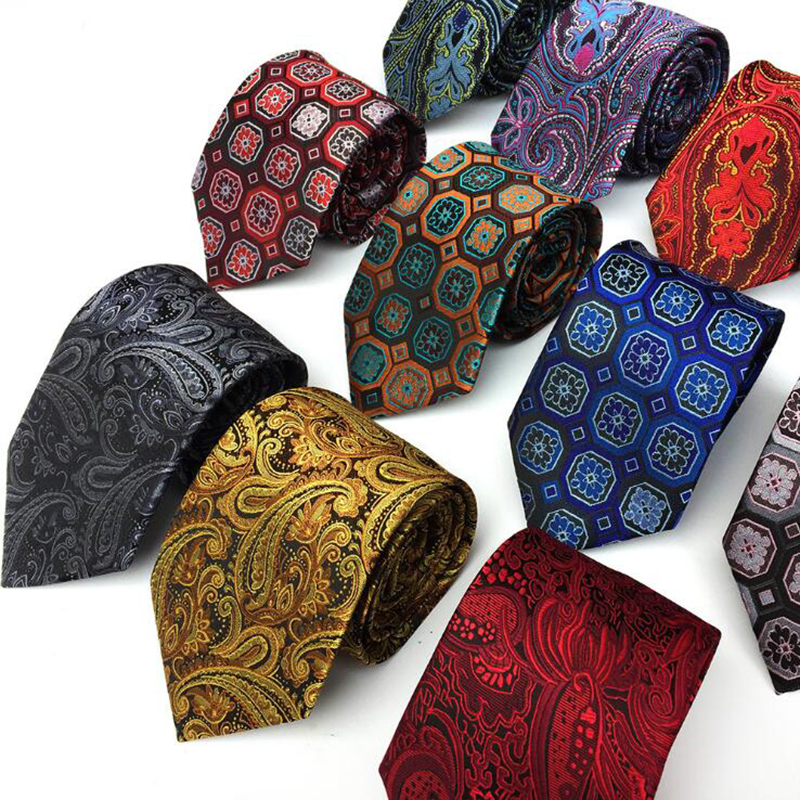 GUSLESON 8cm Men's Classic Tie 100% Silk Jacquard Paisley Floral Cravatta Ties Man Bridegroom Business Necktie Accessories