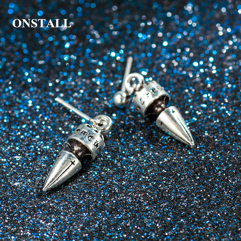 ONSTALL925 Sterling Silver Vintage tapered bullet head studs For Men Retro Black Process Male Stud Earring Party Pierced Jewelry