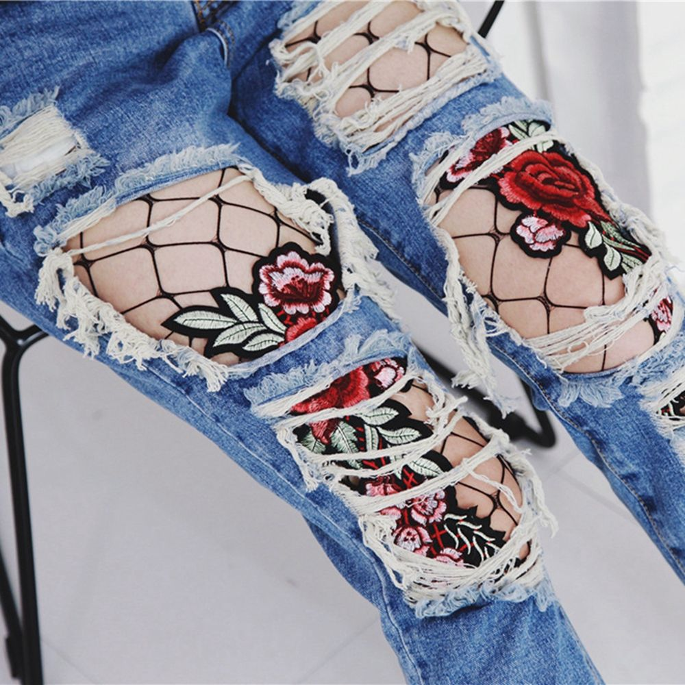 2017 New Listing Fashion Women Flower Embroidery Patch Hollow Out Net Fishnet Pantyhose Mesh Net Tights