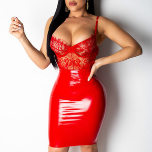 Women Dress Sexy Lace PVC Patchwork Bodycon Wet Look PU Clubwear Evening Package Hip Night Red Blue Black Tight Dating Clothing(China)
