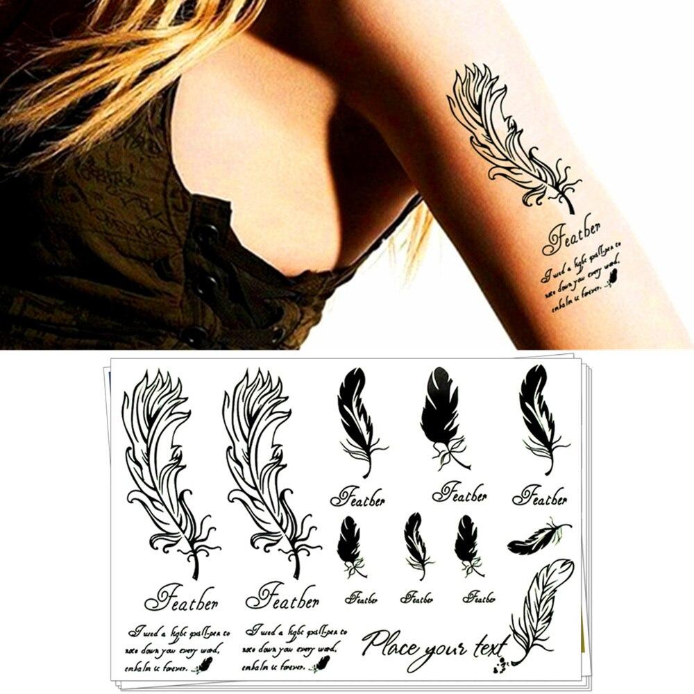 Tatuajes Pegatina ᐊpalabras sabiduría plumas flash tatuajes 17*10 cm astm seguro