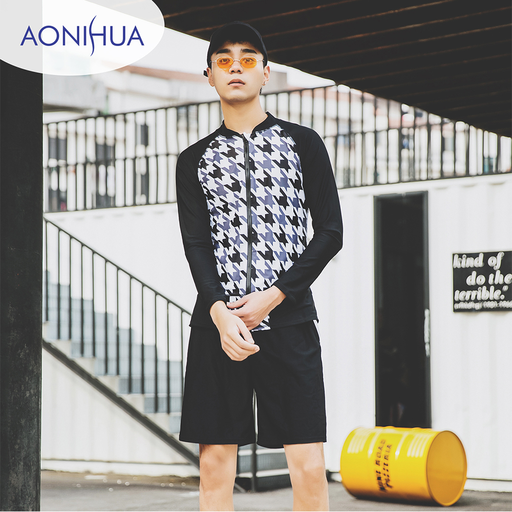 Aonihua Men's Swimming Trunks For Swimming Long Sleeve Sport Two Piece Swimsuit With Shorts For Teenagers M-3XL
