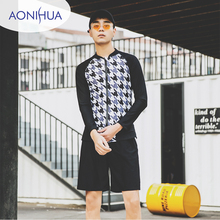 Aonihua Mens Swimming Trunks For Long Sleeve Sport Two Piece Swimsuit With Shorts Teenagers M-3XL