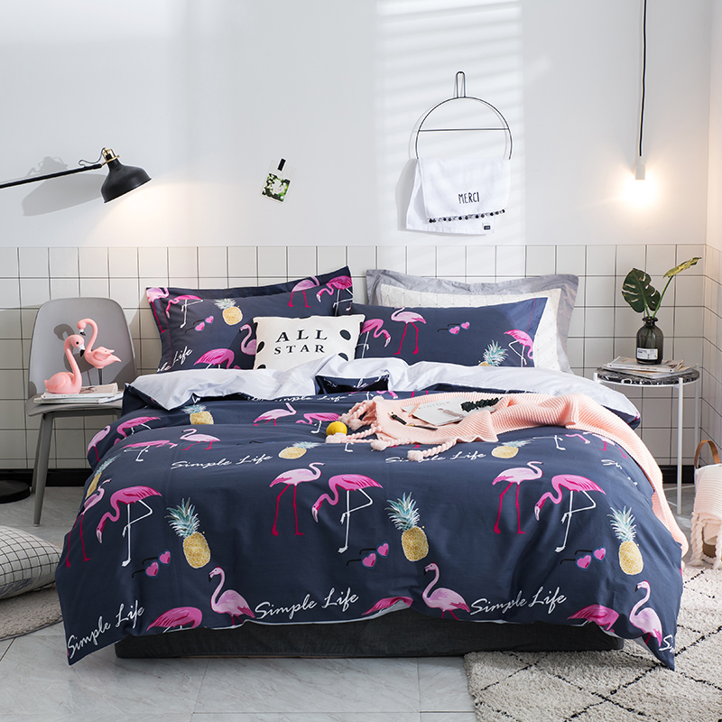 4pcs High Quality 100%Cotton Printed Flamingo Bedding set Comfortable Soft Duvet Cover set Bed Sheet Pillowcases Queen King Size4pcs High Quality 100%Cotton Printed Flamingo Bedding set Comfortable Soft Duvet Cover set Bed Sheet Pillowcases Queen King Size