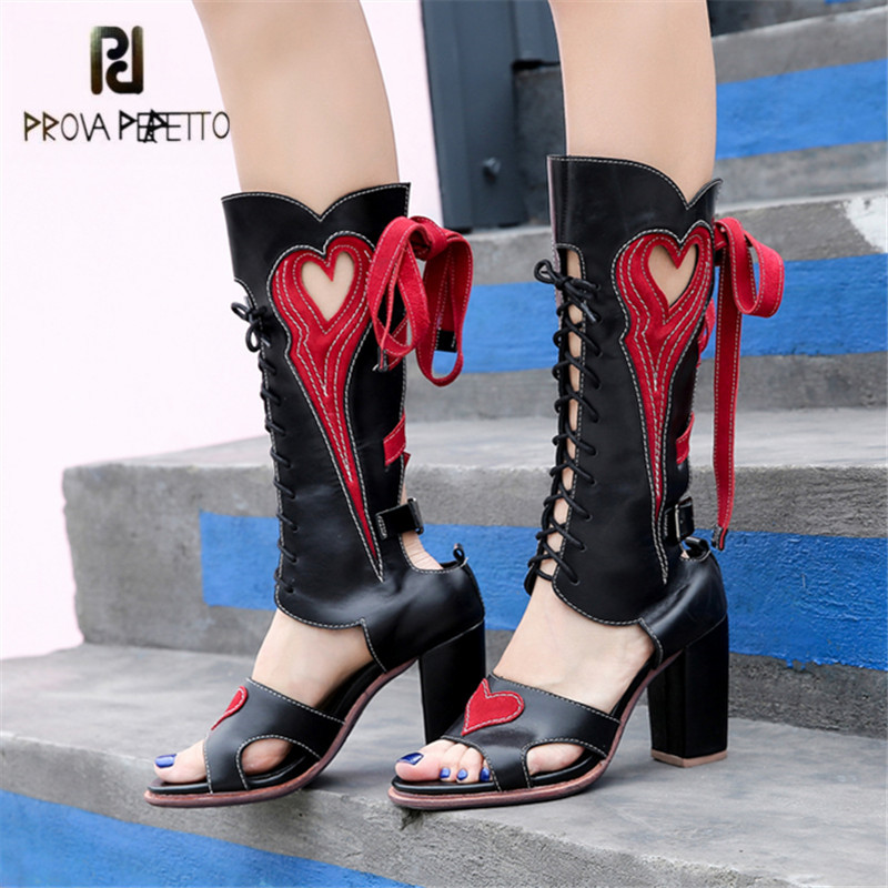 Prova Perfetto Women Gladiator Sandals Hollow Out Summer Boots Lace Up High Heel Sandalias Mujer Peep Toe Women Platform Pumps platform sandals summer long boots gladiator sandals women high heels leopard shoes sandalias femininas lace up high boots d536