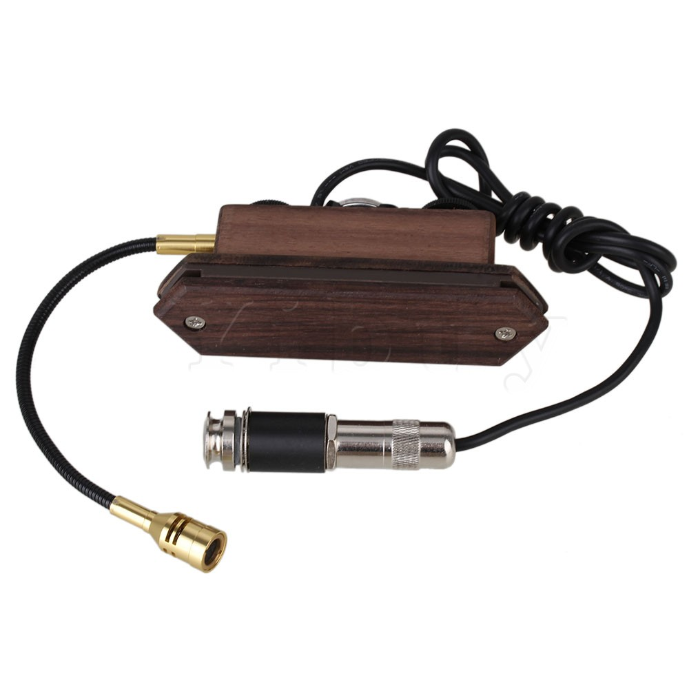 Yibuy Wood Color Rosewood Acoustic Guitar Dual Coil Soundhole Pickup with Microphone yibuy gold vintage lipstick tube pickup for single coil electric guitar