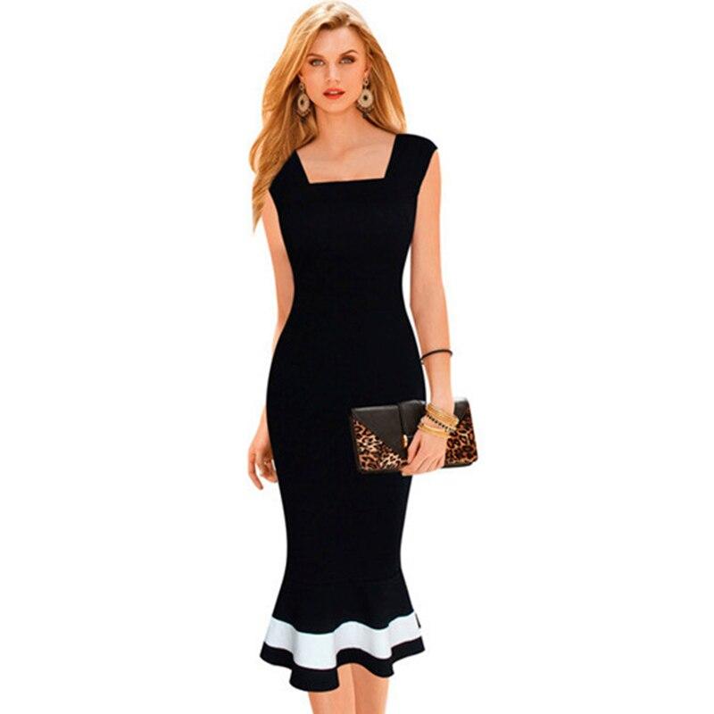 Elegant Women Black And White Ruffles Dresses V Back ...