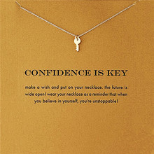 2016 Sparkling friendship Key Gold Color Pendant Necklace Link Chains Fashion Accessories Necklace For Women Jewelry