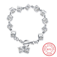 100%  real pure 925 sterling silver jewelry many thick square white crystal stone link charms bracelet for women trendy jewelry