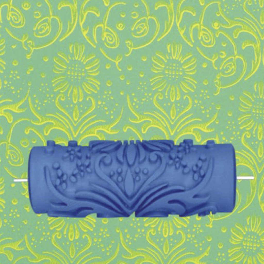 Promotion 15cm Wall Decoration Flower Pattern Empaistic Painting Roller for Decorating Machines DIY Blue