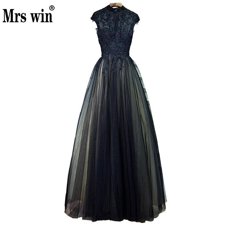 2018 Fashion Black Evening Dress Luxury Lace High Neck Zipper Black Long Party Dress Elegant Simple Prom Dress Vestido De Noiva