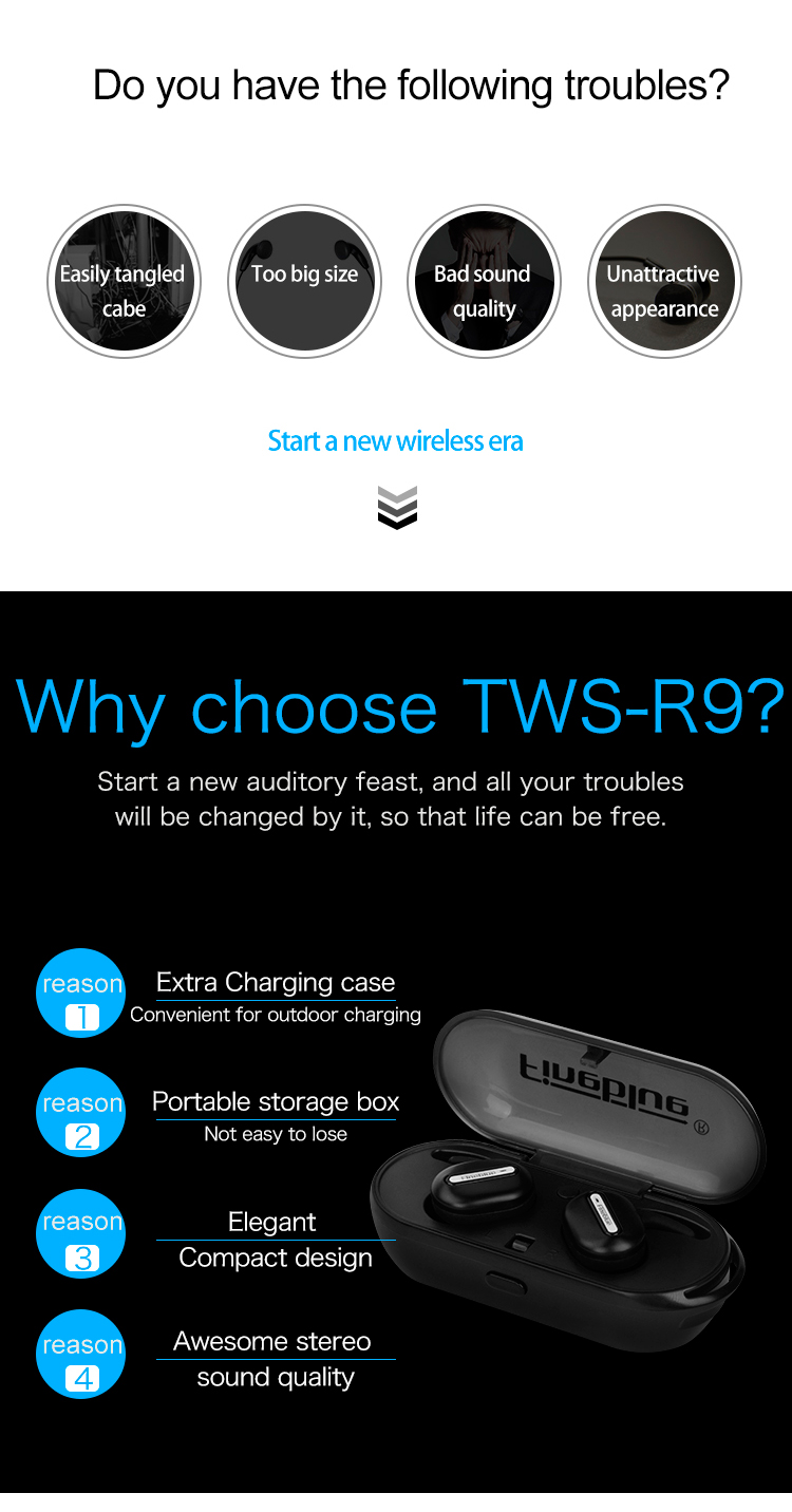 ASTROSOAR - Fineblue TWS-R9 True Wireless Bluetooth® Earbuds 3D Stereo HiFi Headphones With Charge Box