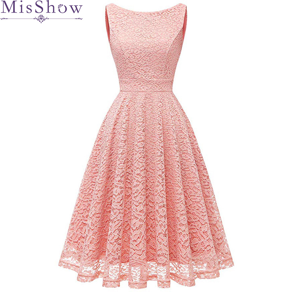 Pink Sleeveless Cocktail Dresses Knee Length Lace Short Formal Party Gown 2020 Sexy A Line Robe Coctail