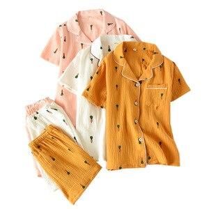Image 5 - Double Layer Cotton Gauze Crepe Short Sleeve Shorts Pajamas for Women Plus Size Pyjamas Cartoon Printing Sleepwear Home Clothes
