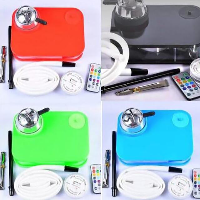 Led Lamp Arab Hookah Set With Remote Control Portable Square Box Acrylic Hookah Shisha Bowl Charcoal Tongs Silicone Pipe Sets