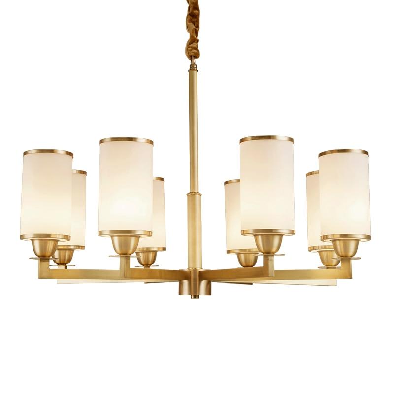 American Art Decoration full Copper Brass Chandelier light AC110/220V Elegant Hotel Foyer Cafe 6/8 Light Arm Fabric Shade E14 3w|Chandeliers| |  - title=