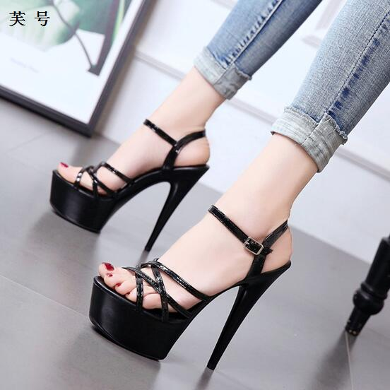 Women's Sandals Shoes Sandale abarca Sexy Thin Heel High Heels 15CM Sexy Open Toe Sandals Women New Female Platform Summer Shoes summer shoes women gladiator sandals high heels fashion sexy suede leather open toe thin heel strappy platform female shoes