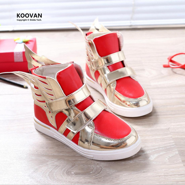 Koovan Children Boots Spring 2017 New Baby Kids Boys Girls Sequin Wing Casual Sports Sneakers Children Shoes Bling Running Fly