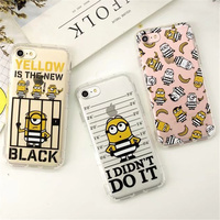 100pcs Funny Despicable Me Minion Case Cover For iphone XS Max 8 6 5s X fundas Transparent Soft Clear Gel holster