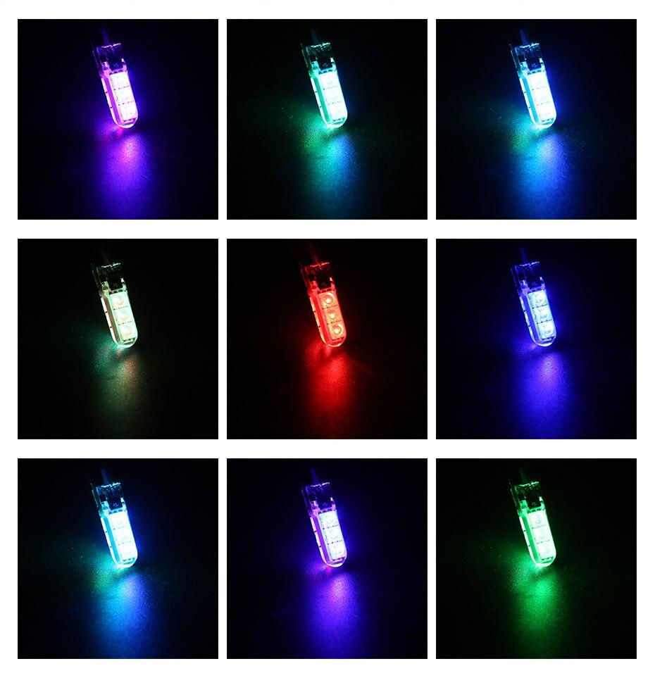 2 шт. RGB T10 W5W светодиодный 194 168 W5W 5050 SMD автомобильный купольный светильник для чтения Автомобильная клиновидная лампа RGB светодиодный светильник с пультом дистанционного управления