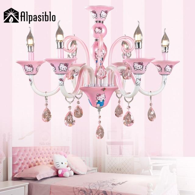 Superbe Nouveau Design Moderne Coréen Fille Bébé Salon Lustre Chambre Lampe  éclairage Rose Hello Kitty Cristal Lustre