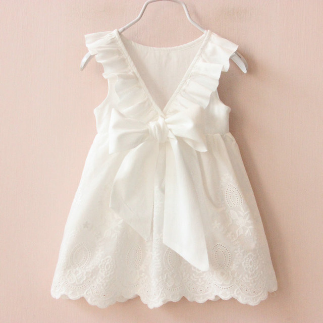 Girl's Summer Style White Cotton Dress
