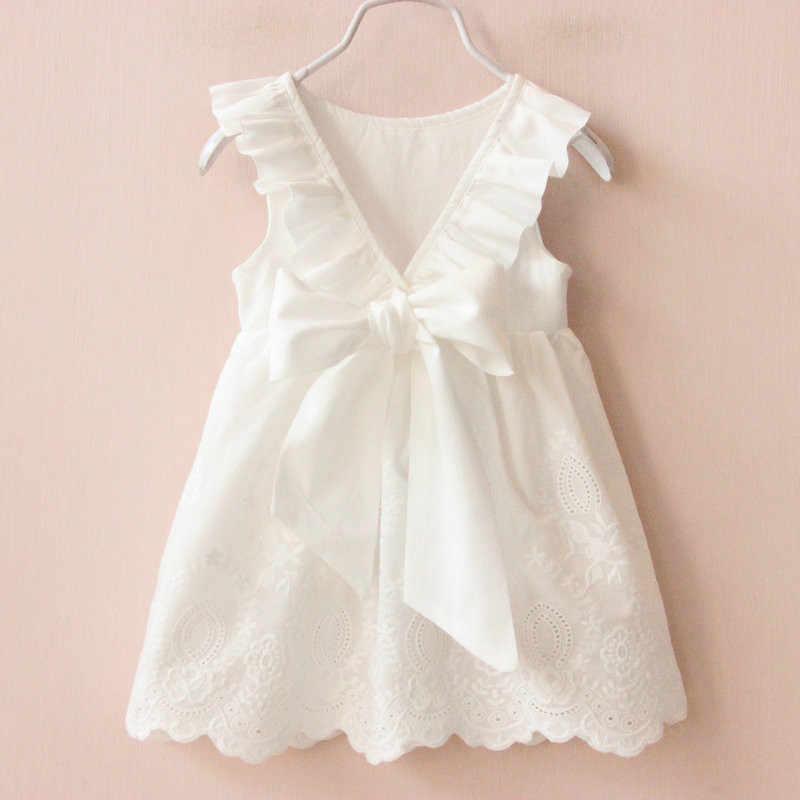 cb1590d2d 2019 vestidos de niñas sólido blanco Vestido de verano estilo ropa para  niños vestidos para niñas