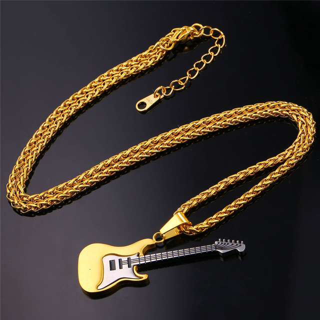 U7 Music Necklace For Men/Women Gift Hot Trendy Gold Plated Stainless Steel Guitar Pendant & Chain Hip Hop Rock Jewelry P810