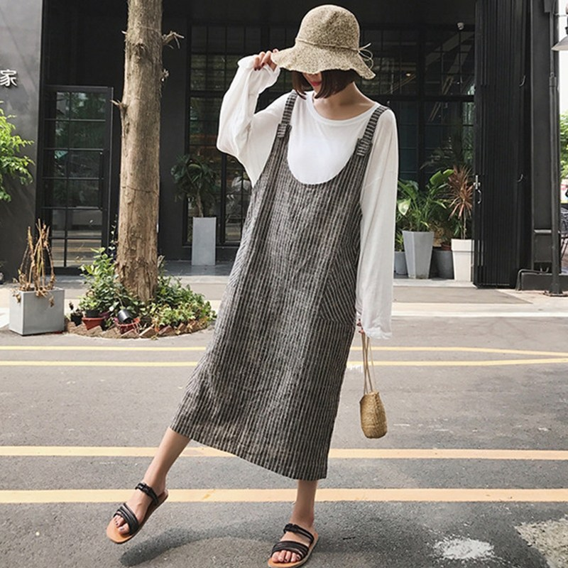 2018 Celmia Women Strappy Sleeveless Striped Loose Suspense Dress Backless Split Hem Baggy Pockets Dungarees Vestido Plus Size