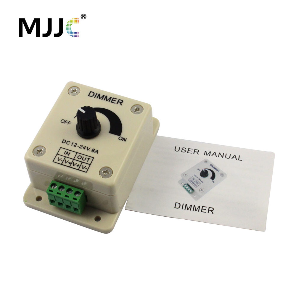 LED Dimmer 12V 24V 8A Knob LED Dimmer Rotary Dimming Wall Switch ON OFF for Single Color LED Strip Light