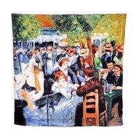 Desigual Women Large Size Silk Scarf Bandana Cape Headscarf Handrolled Pierre Auguste Renoir Dance At Le
