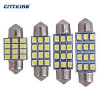 Free shiping 100X White light LED Car Bulb Festoon 12SMD 31mm 36 mm 39mm 41mm 1210 3528 LED Dome Map Lamp