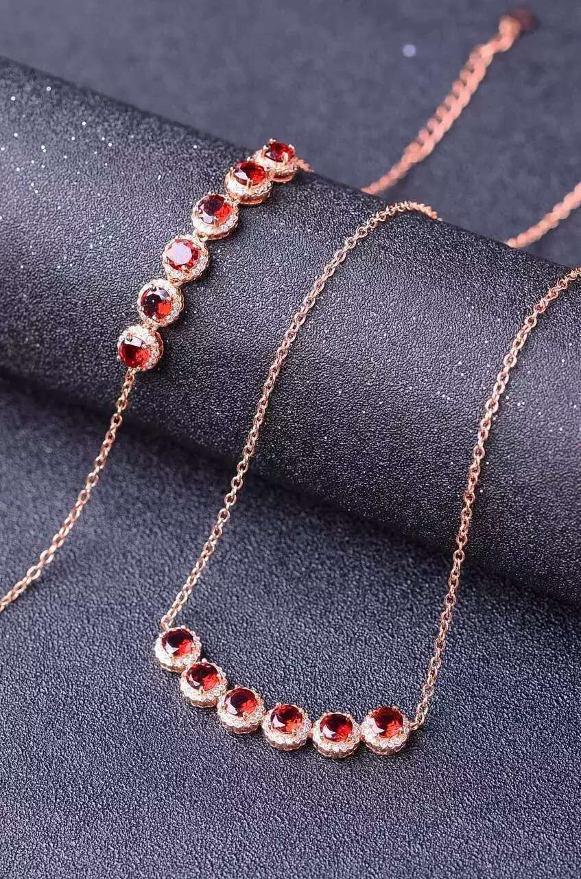 Natural red garnet gem jewelry sets natural gemstone Necklace bracelet 925 silver Elegant Simple round bubbles women jewelryNatural red garnet gem jewelry sets natural gemstone Necklace bracelet 925 silver Elegant Simple round bubbles women jewelry