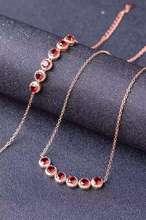Natural red garnet gem jewelry sets natural gemstone Necklace bracelet 925 silver Elegant Simple round bubbles women jewelry