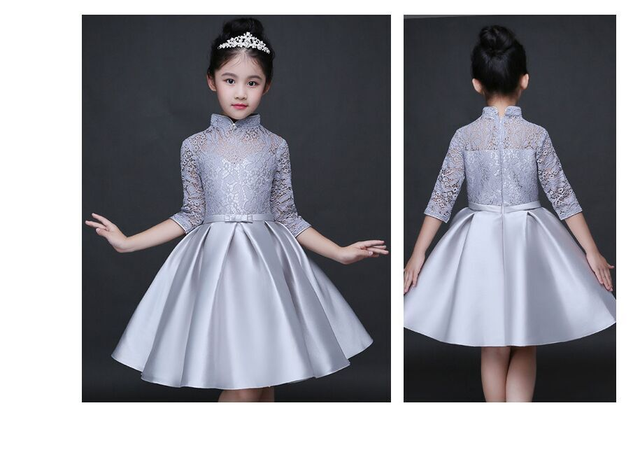 HTB1ESa9QFXXXXXRXVXXq6xXFXXXF - Baby Girl Kid Evening Party Dresses For Girl Wedding Princess Clothing 2017 New Solid Color Bow Moderator Dress Children Clothes